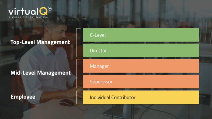 """Customer service infographic showing three tiers: top-level management, mid-level management, and employee. The top-level management shows two examples: """"C-level"""" and """"Director"""". The Mid-level management shows two examples: Manager and Supervisor. The Employee category just shows """"Individual Contributor."""""""